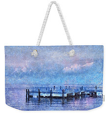 Weekender Tote Bag featuring the mixed media Lewes Pier by Trish Tritz