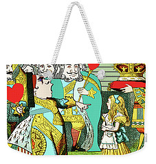 Lewis Carrolls Alice, Red Queen And Cards Weekender Tote Bag by Marian Cates