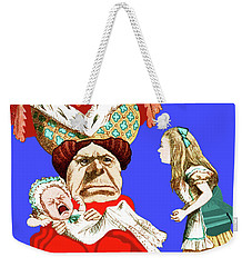 Weekender Tote Bag featuring the painting Lewis Carrolls Alice, Red Queen And Crying Infant by Marian Cates