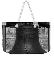 Weekender Tote Bag featuring the digital art Liberty Bell Bw by Chris Flees