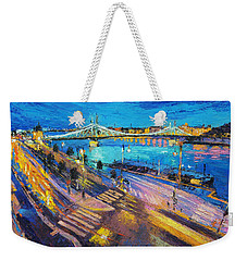 Liberty Bridge And The Danube At Night Weekender Tote Bag