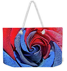 Weekender Tote Bag featuring the photograph Liberty Rose by Judy Vincent