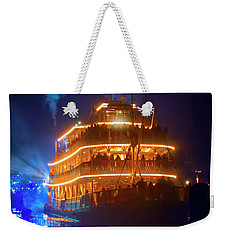 Weekender Tote Bag featuring the photograph Liberty Square Riverboat by Mark Andrew Thomas