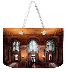 Weekender Tote Bag featuring the photograph Library Entrance by Jessica Jenney