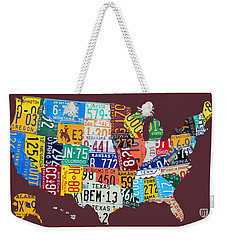 License Plate Map Of The United States Weekender Tote Bag