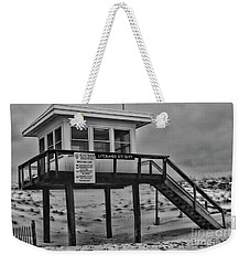 Weekender Tote Bag featuring the photograph Lifeguard Station 1 In Black And White by Paul Ward