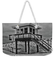 Weekender Tote Bag featuring the photograph Lifeguard Station 2 In Black And White by Paul Ward
