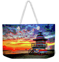 Lifeguard Tower At Miami South Beach, Florida Weekender Tote Bag by Charles Shoup