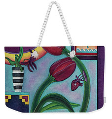 Weekender Tote Bag featuring the painting Lifting And Loving Each Other by Lori Miller