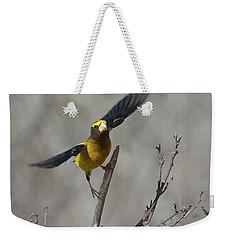 Liftoff-male Evening Grosbeak Weekender Tote Bag
