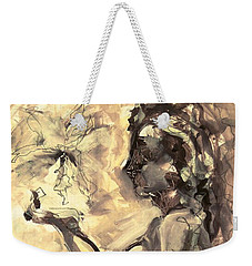 Weekender Tote Bag featuring the painting Light And Shadow by Mary Schiros