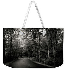 Light And Shadow On A Mountain Road In Black And White Weekender Tote Bag