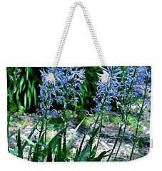 Light Blue Lace Weekender Tote Bag by Marsha Heiken