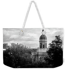 Light On The Courthouse In Black And White Weekender Tote Bag