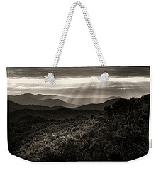 Light On The Mountains In Black And White Weekender Tote Bag