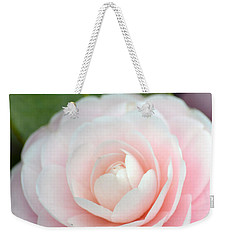 Light Pink Camellia Flower Weekender Tote Bag by P S