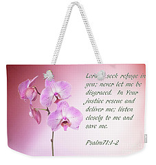 Light Pink Orchid Psalms 71 Weekender Tote Bag by Linda Phelps