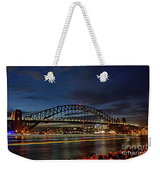 Weekender Tote Bag featuring the photograph Light Trails On The Harbor By Kaye Menner by Kaye Menner