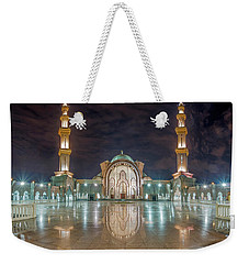 Weekender Tote Bag featuring the photograph Lighted Federal Territory Mosque  by Pradeep Raja Prints