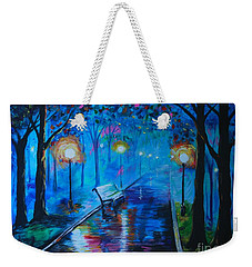 Weekender Tote Bag featuring the painting Lighted Parkway by Leslie Allen