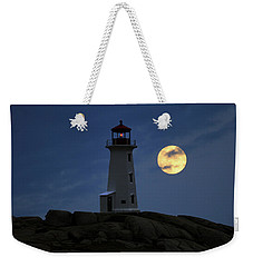 Lighthouse And Full Moon Weekender Tote Bag