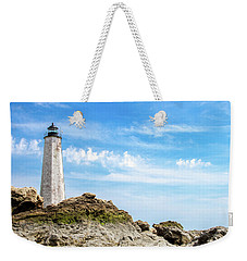 Lighthouse And Rocks Weekender Tote Bag by Dawn Romine