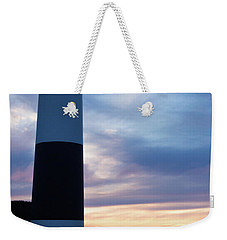 Lighthouse At Sister Bay Marina At Sunset Weekender Tote Bag