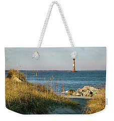 Lighthouse From Beach At Dusk Weekender Tote Bag