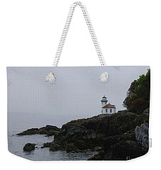 Lighthouse On Rainy Day Weekender Tote Bag