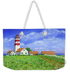 Weekender Tote Bag featuring the painting Lighthouse Pasture by Val Miller