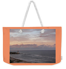Lighthouse Peach Sunset Weekender Tote Bag