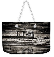 Lighthouse Reflections In Black And White Weekender Tote Bag