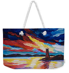 Weekender Tote Bag featuring the painting Lighthouse Storm by Leslie Allen