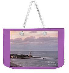 Lighthouse Sunset Peach And Lavender Weekender Tote Bag