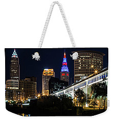 Weekender Tote Bag featuring the photograph Lighting Up Cleveland by Dale Kincaid