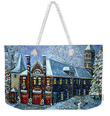 Lighting Up The Christmas Tree Weekender Tote Bag by Rita Brown