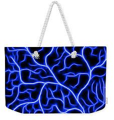 Weekender Tote Bag featuring the digital art Lightning - Blue by Shane Bechler