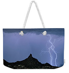 Weekender Tote Bag featuring the photograph Lightning Bolts And Pinnacle Peak North Scottsdale Arizona by James BO Insogna