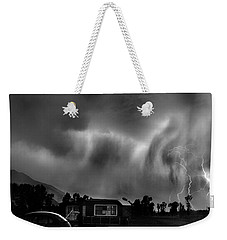 Lightning Storm Over The Snake River Ranch, Wyoming Weekender Tote Bag by Wernher Krutein