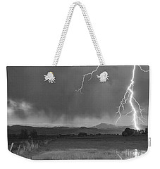 Lightning Striking Longs Peak Foothills 5bw Weekender Tote Bag
