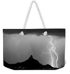 Lightning Thunderstorm At Pinnacle Peak Bw Weekender Tote Bag