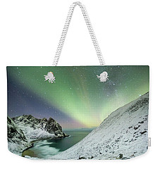 Lights Above Kvalvika Weekender Tote Bag by Alex Conu