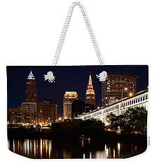 Lights In Cleveland Ohio Weekender Tote Bag by Dale Kincaid