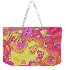 Weekender Tote Bag featuring the digital art Lignes En Folie - 08a by Variance Collections