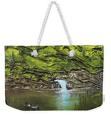 Weekender Tote Bag featuring the mixed media Like Ducks On Water by Angela Stout