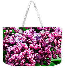 Weekender Tote Bag featuring the photograph Lilac Blossoms Abstract Soft Effect 1 by Rose Santuci-Sofranko