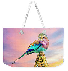 Weekender Tote Bag featuring the photograph Lilac Breasted Roller At Sunset by Brian Tarr