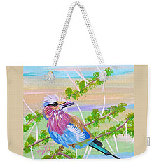Lilac Breasted Roller In Thorn Tree Weekender Tote Bag by Phyllis Kaltenbach