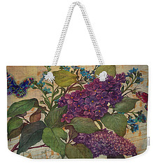 Weekender Tote Bag featuring the painting Lilac Dreams Illustrated Butterfly by Judith Cheng