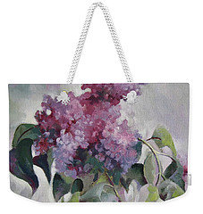 Weekender Tote Bag featuring the painting Lilac by Elena Oleniuc